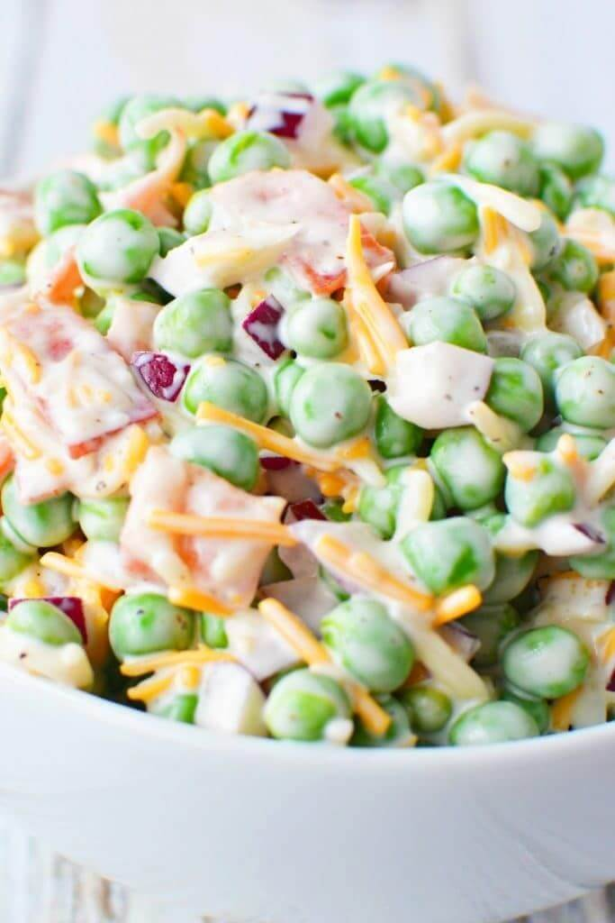 21. Green Pea Salad with Bacon and Cheese