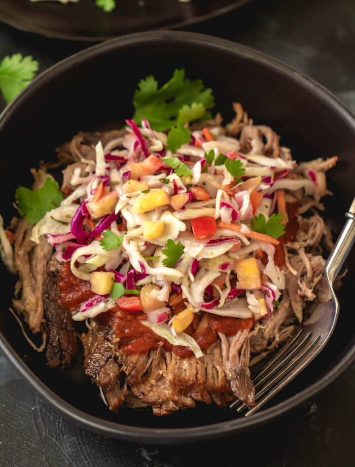 23 Slow Cooker Pulled Pork with Pineapple Coleslaw