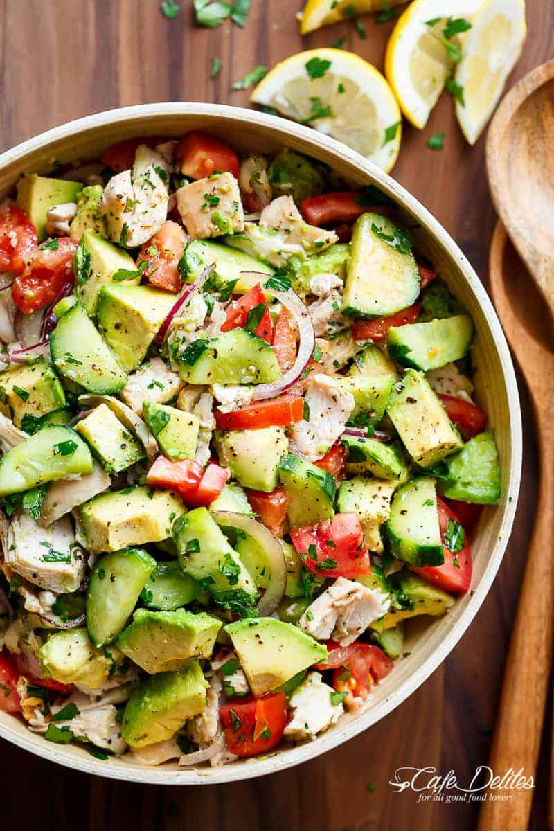 23. Chicken Cucumber Avocado Salad