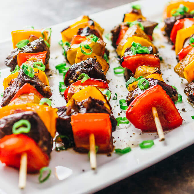 25 Hawaiian Steak Kabobs