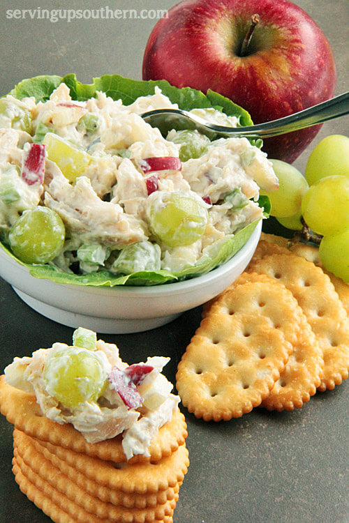 25. Chicken Salad Cups with Grapes and Apples