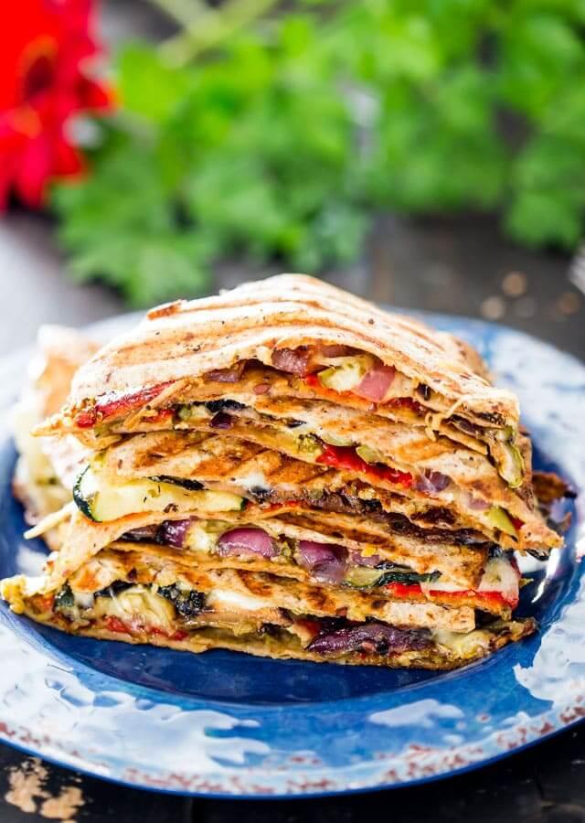 25. Grilled Vegetable Quesadillas with Mozzarella and Pesto