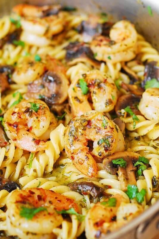 27. Pesto Shrimp Mushroom Pasta