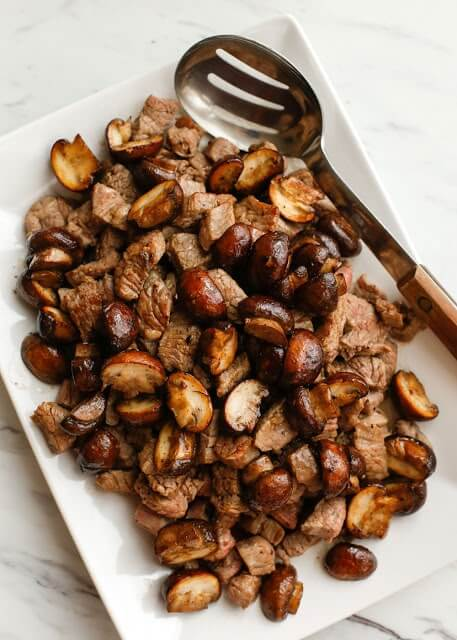 29. Buttered Steak Bites with Mushrooms