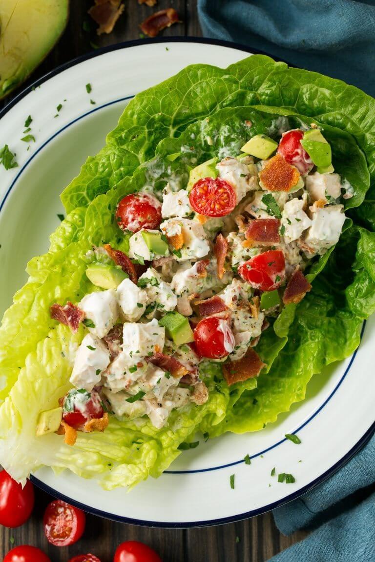 3 BLTA Chicken Salad Lettuce Wraps