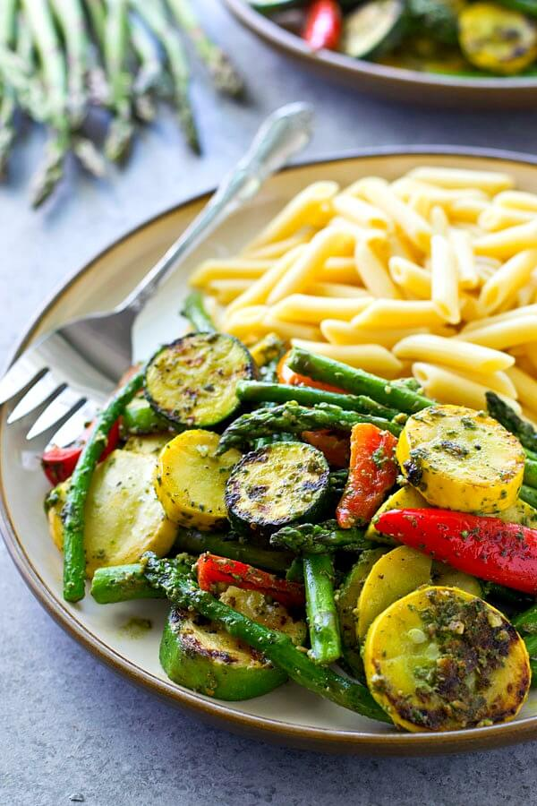 3 Pesto Grilled Vegetables with Penne