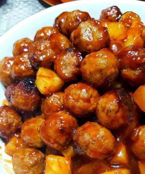 #3 Slow Cooker Pineapple Meatballs