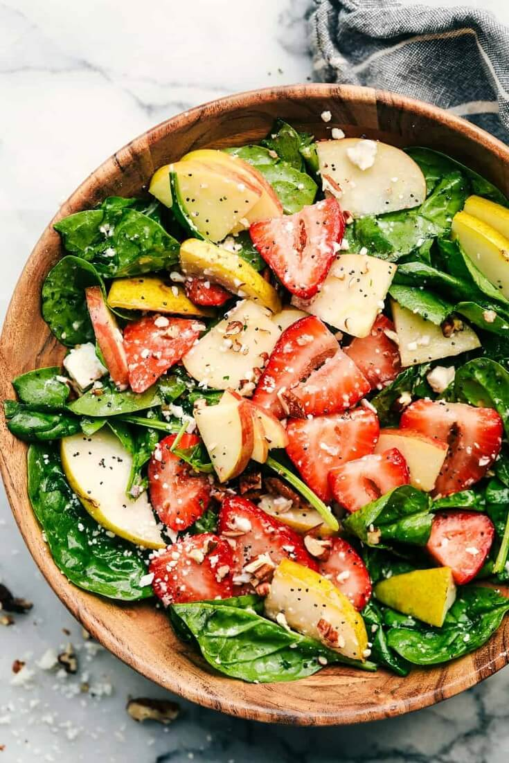 3 Strawberry Apple and Pear Spinach Salad