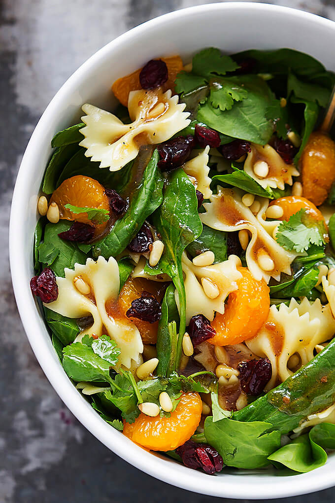 #4 Mandarin Pasta Spinach Salad with Teriyaki Dressing
