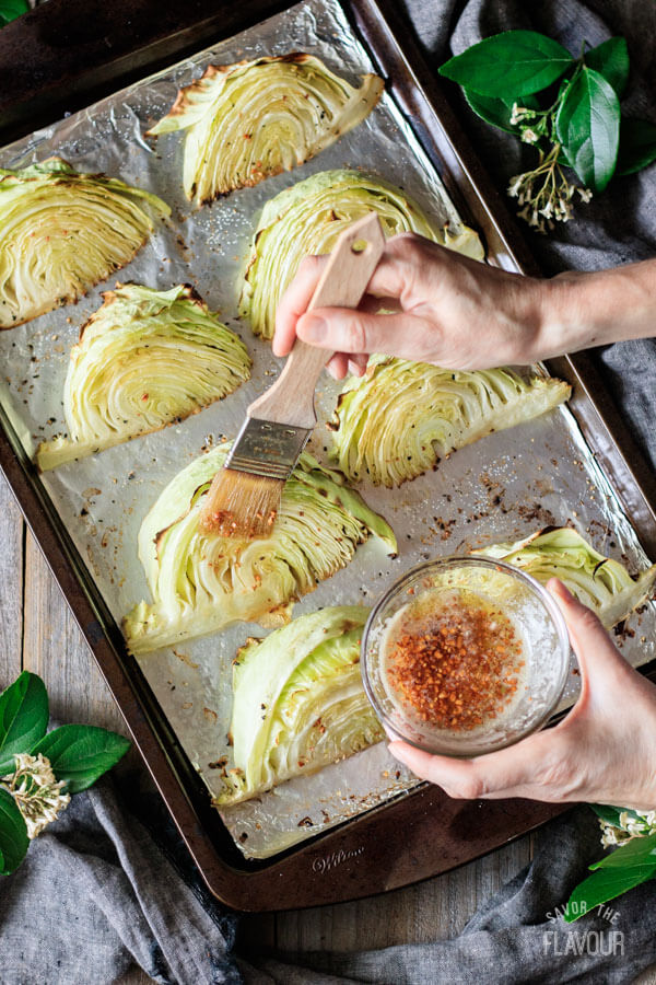 4 Roasted Cabbage Wedges with Lemon Garlic Butter