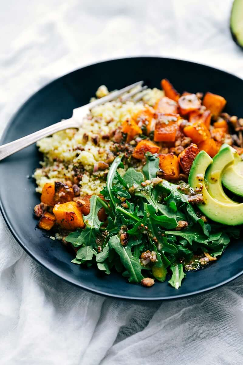 4. Butternut Squash Bowl with Avocado and Pecan