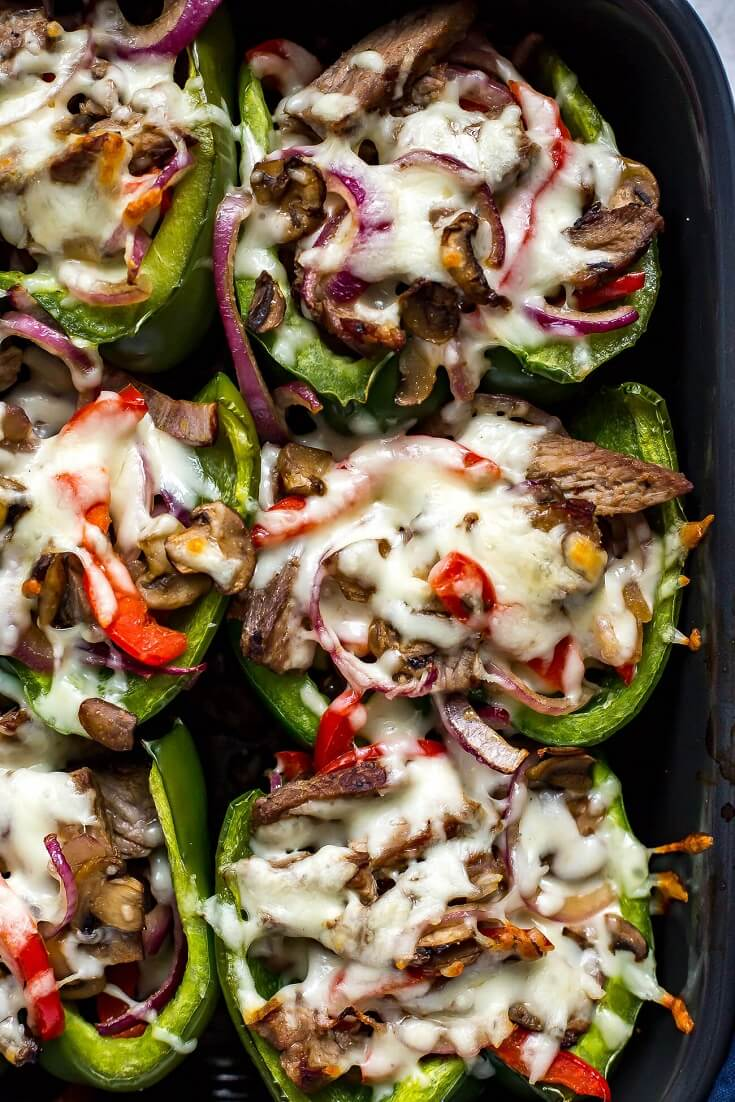 5 Philly Cheesesteak Stuffed Peppers