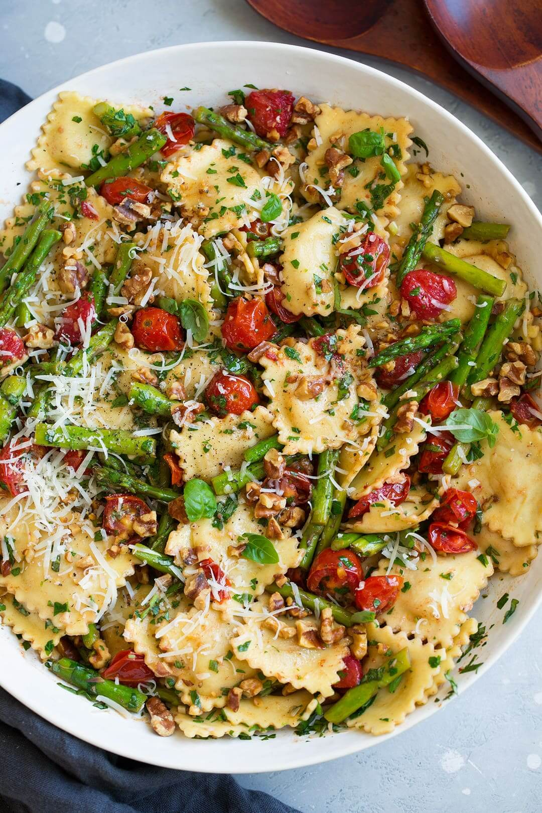 5. Ravioli with Tomatoes Asparagus Garlic and Herbs