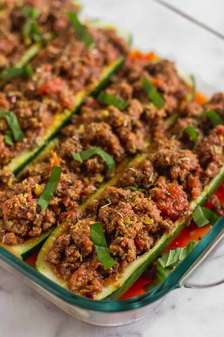6 5 Ingredient Beef Zucchini Boats
