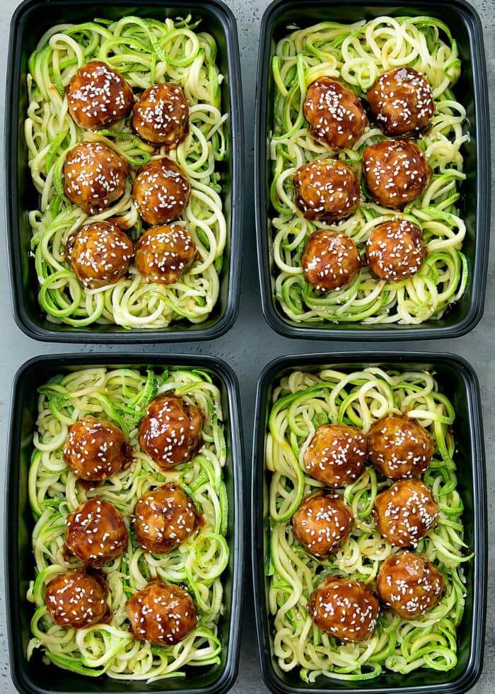 #6 Asian Glazed Meatballs with Zucchini Noodles