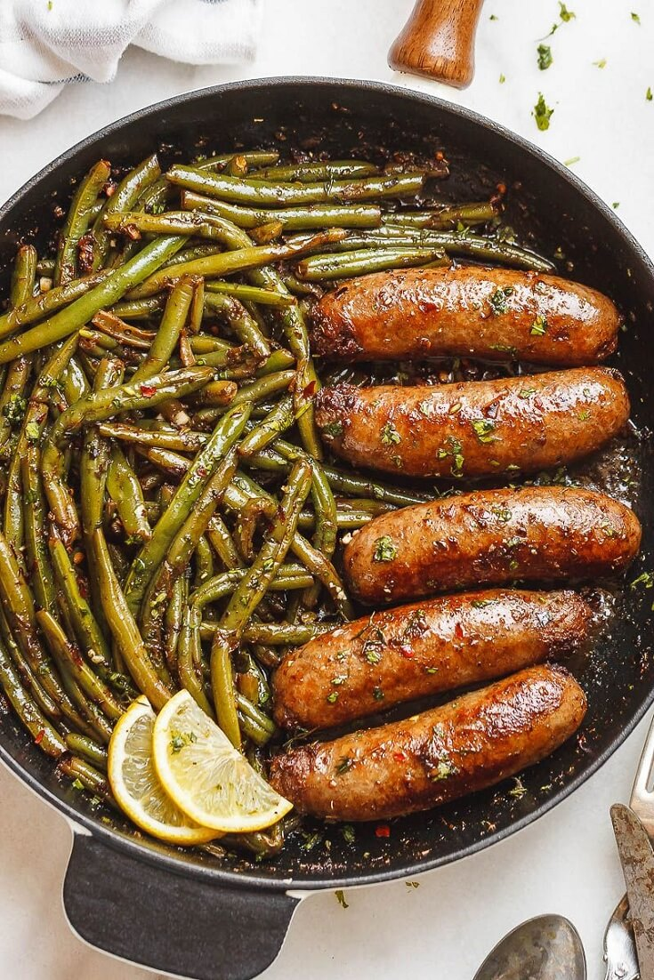 #6 Garlic Butter Sausages with Lemon Green Beans
