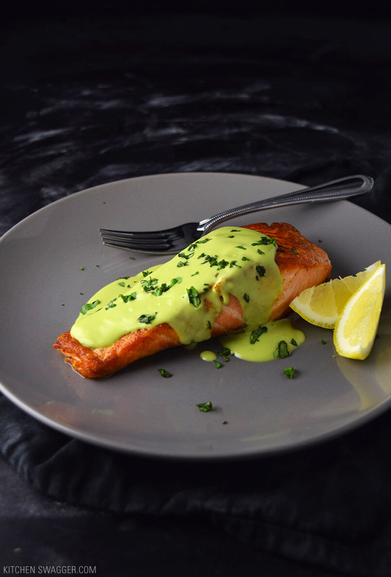 6. Pan-Seared Salmon with Creamy Avocado Sauce