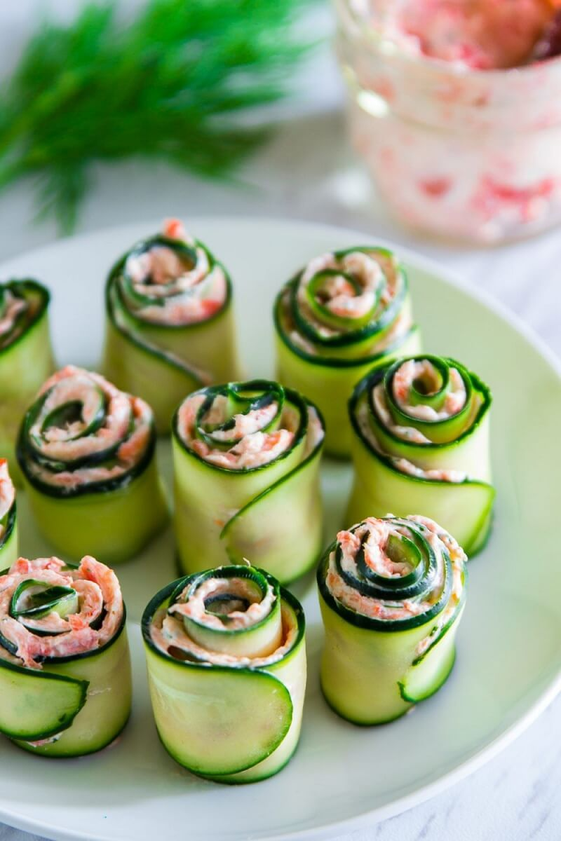 6. Smoked Salmon Cucumber Rolls With Cream Cheese