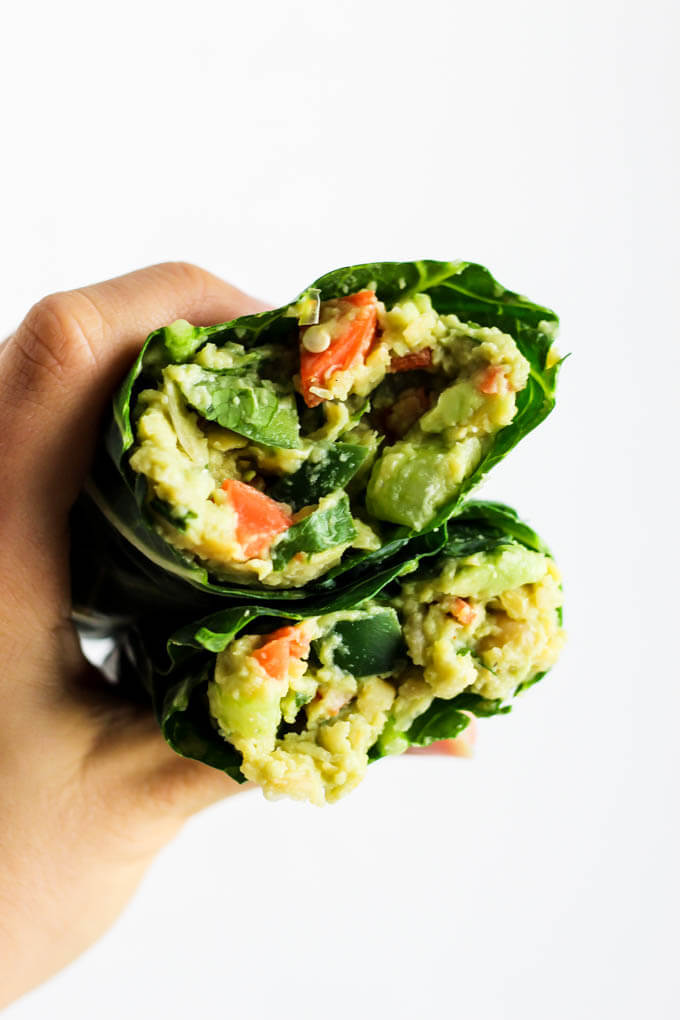 #7 Avocado Chickpea Salad Collard Wraps