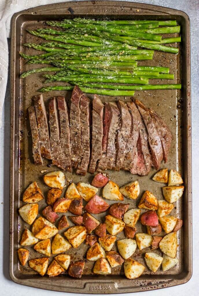 7. Parmesan Crusted Steak and Potato Sheet Pan