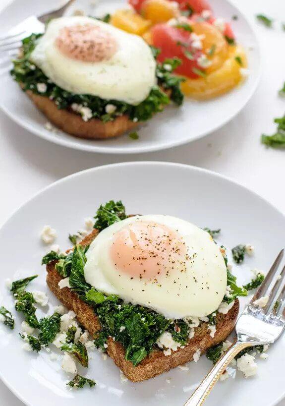 8. Easy Kale Feta Egg Toast