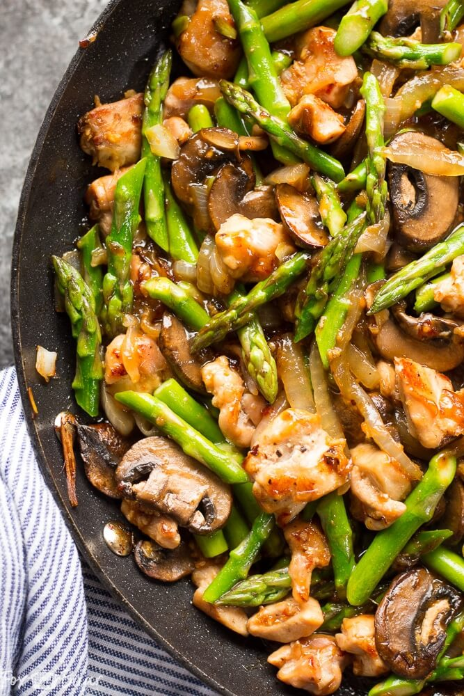 8. Ginger Chicken Asparagus Stir Fry
