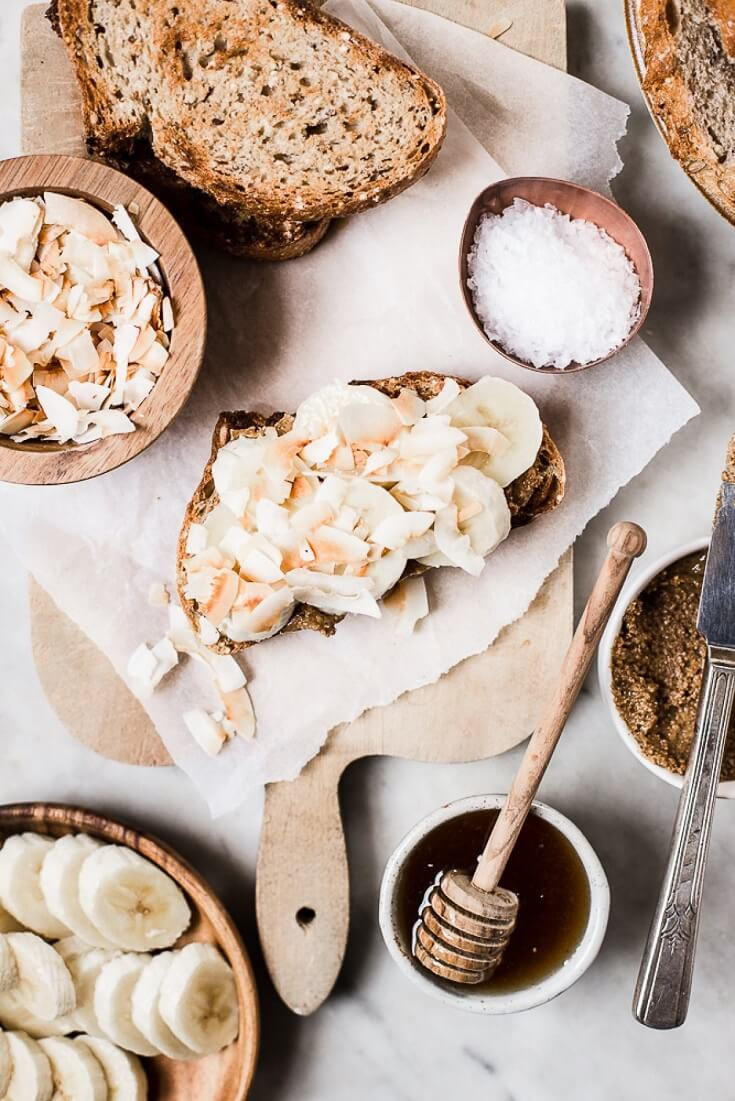 9 Almond Butter Toast With Bananas And Toasted Coconut