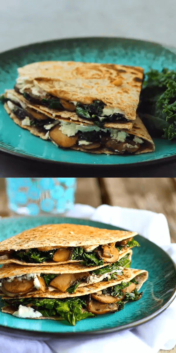 #9 Kale, Mushroom and Goat Cheese Quesadillas