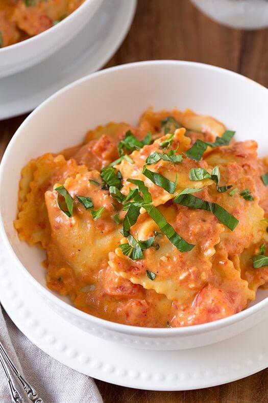 #9 Ravioli with Creamy Sundried Tomato and Basil Sauce