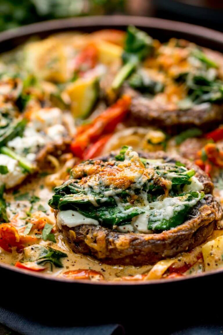 9 Tuscan Style Stuffed Mushrooms