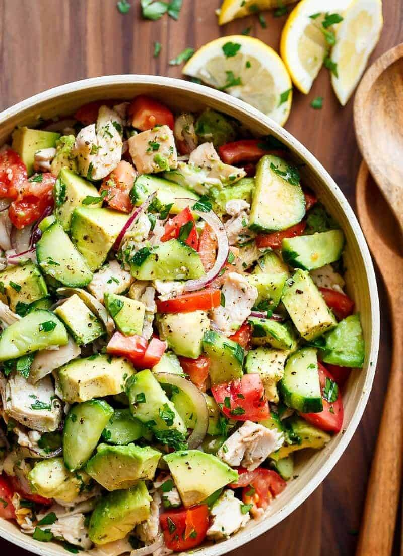 9. Chicken Cucumber Avocado Salad