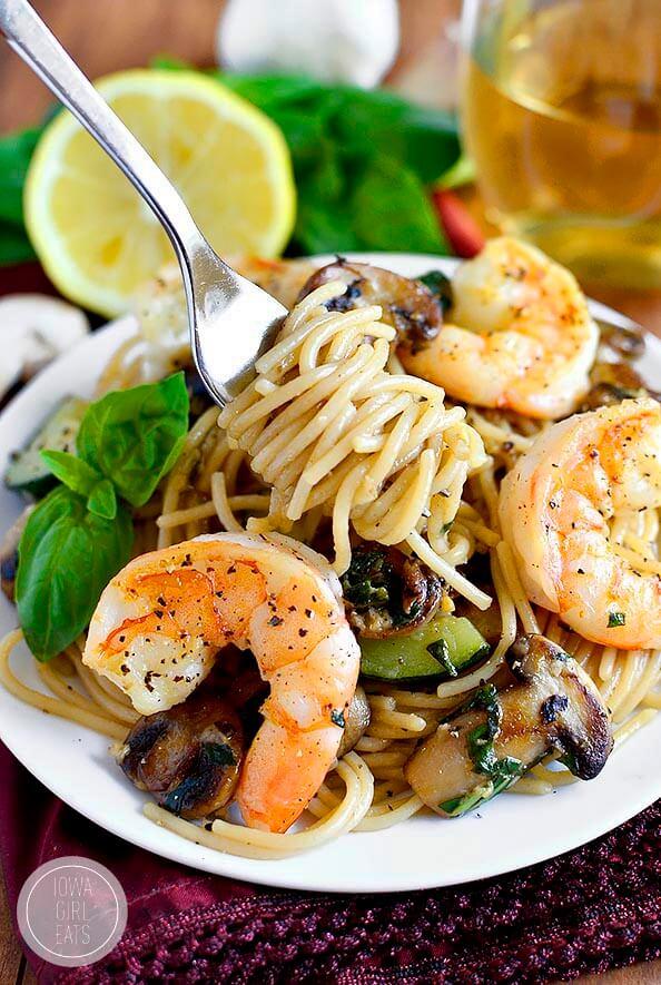 9. Garlic Mushroom and Zucchini Pasta with Shrimp
