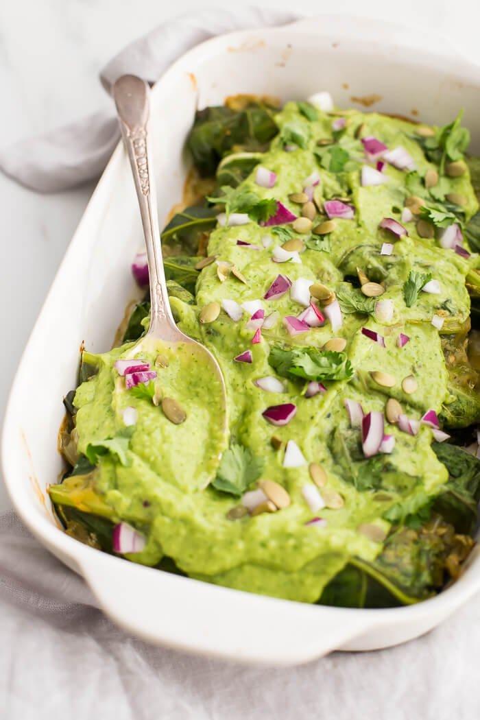 9. Poblano-Pork Enchiladas with Creamy-Avocado Sauce