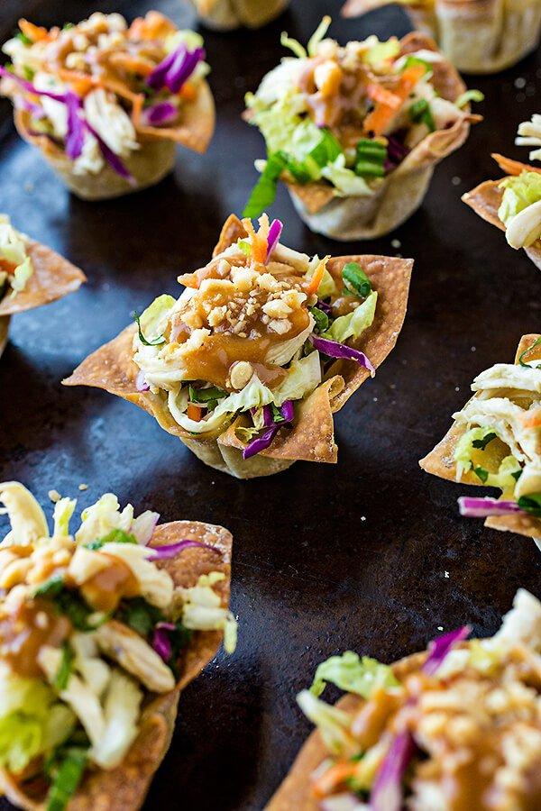 9. Thai Chicken Wonton Salad Cups