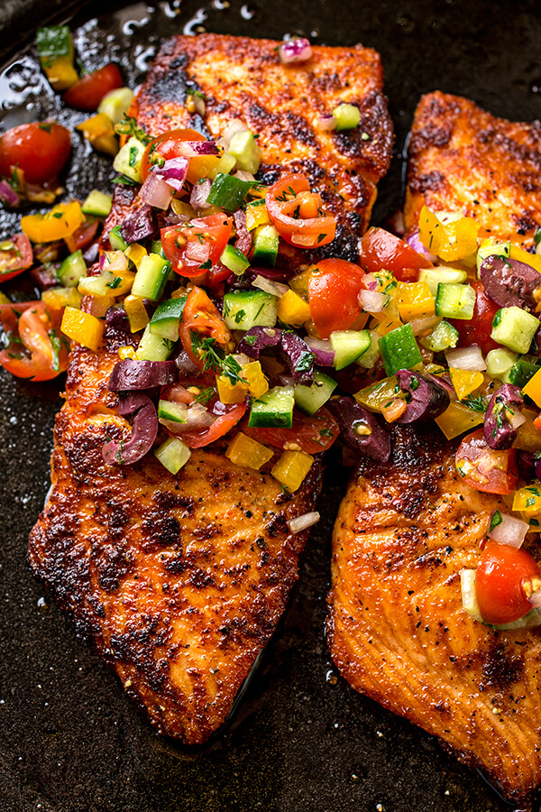 1 Pan Seared Salmon with Mediterranean Salsa Fresca and Toasted Couscous