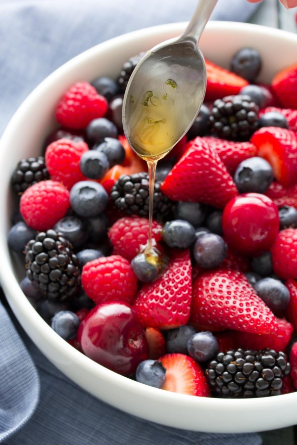 10 Berry Fruit Salad with Honey Lime Dressing
