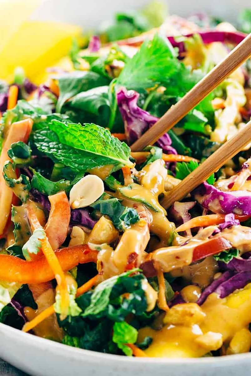 10 Crunchy Thai Salad with Peanut Dressing