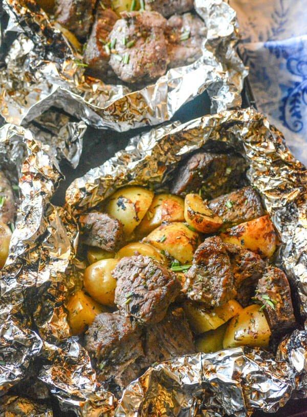 10 Grilled Butter Garlic Steak Potato Foil Pack