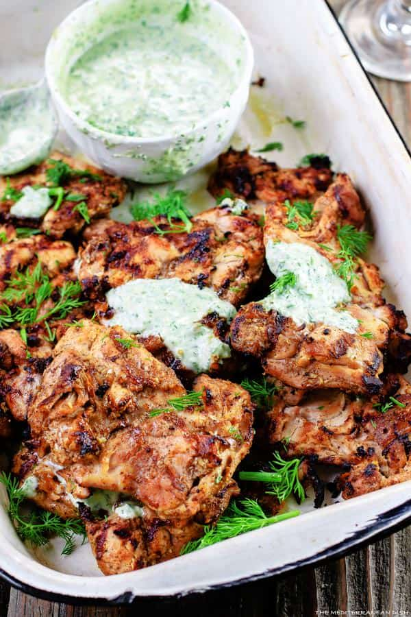10 Grilled Chicken topped with Dill Greek Yogurt Sauce