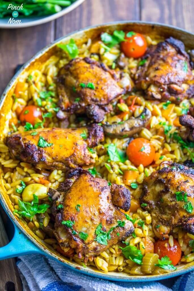 10 Syn Free One Pot Mediterranean Chicken Orzo