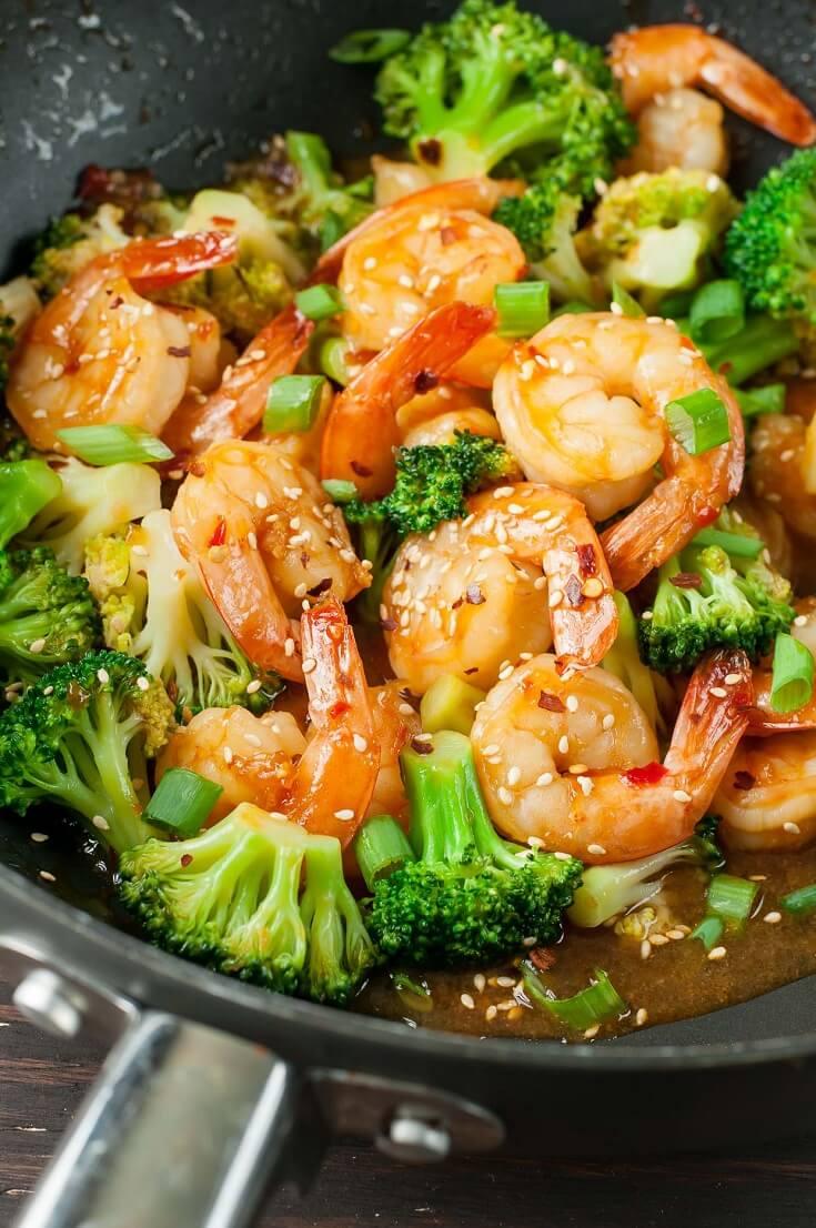 10 Szechuan Shrimp and Broccoli