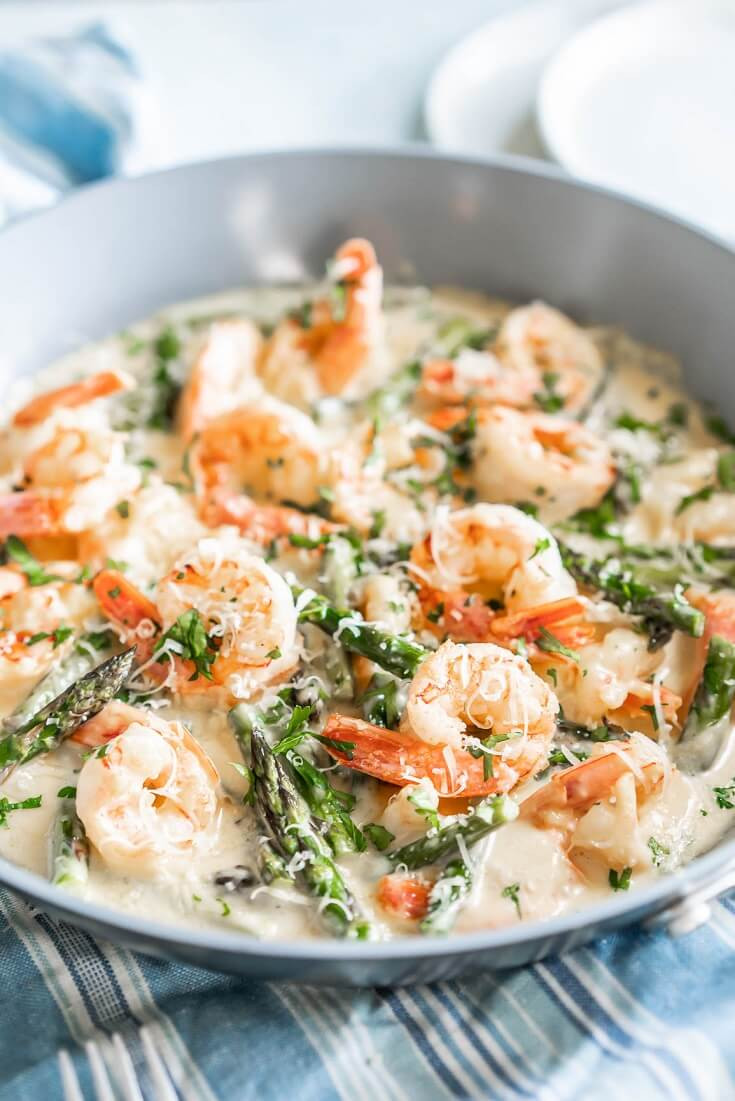 11 Keto Creamy Asparagus with Shrimp Alfredo