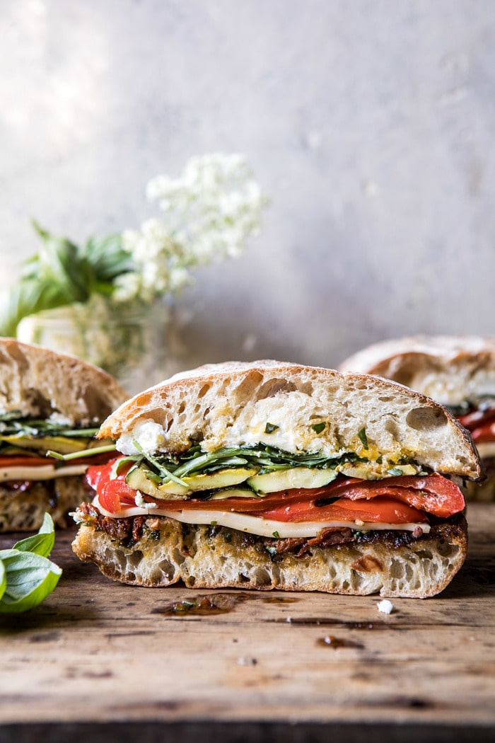 11 Marinated Veggie Cheese Sandwich with Sun Dried Tomato Pesto