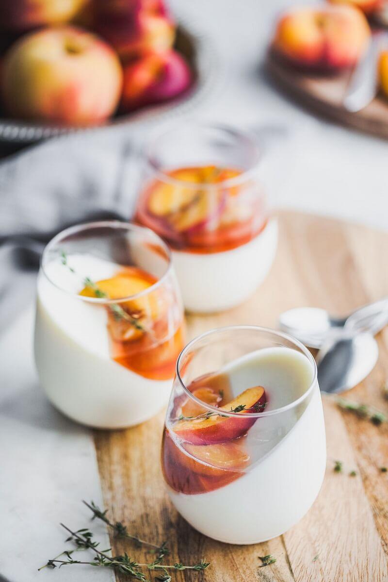 11 Vanilla Yoghurt Panna Cotta With Balsamic Thyme Roasted Peaches And Nectarines