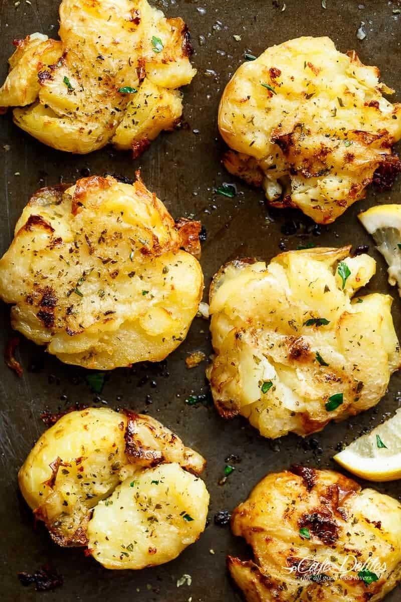 13 Crispy Greek Lemon Smashed Potatoes