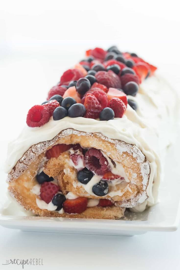 13 Triple Berry Angel Food Cake Roll