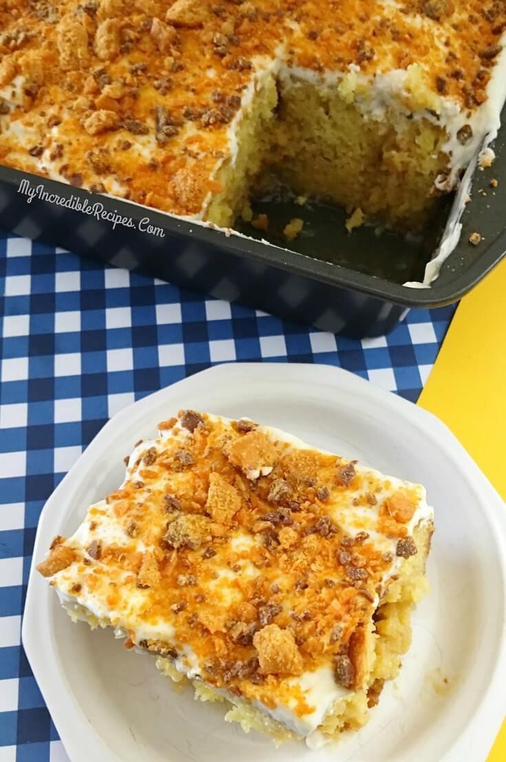 14 Butterfinger Poke Cake