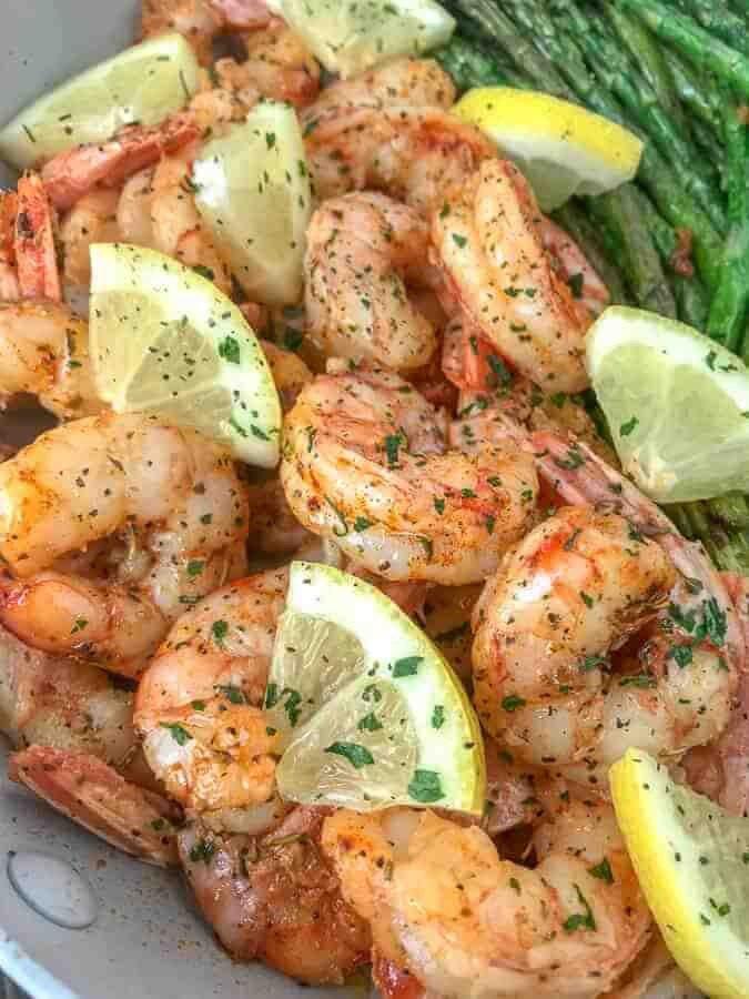 14 Lemon Garlic Butter Shrimp with Asparagus