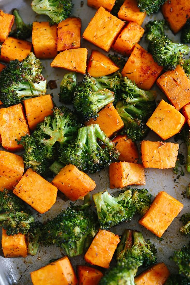 14 Perfectly Roasted Broccoli and Sweet Potatoes