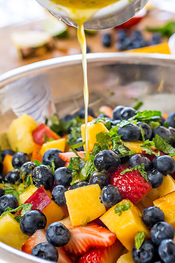 14 Rainbow Fruit Salad with Citrus Honey Dressing and Fresh Mint